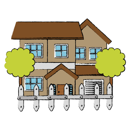 ortseingangsschild: beautiful house building with trees and fence vector illustration design