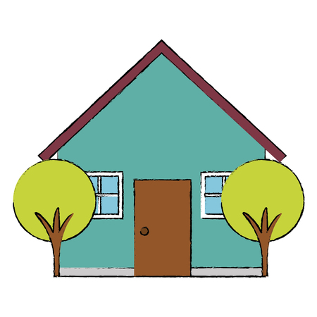 ortseingangsschild: beautiful house building with trees vector illustration design Illustration