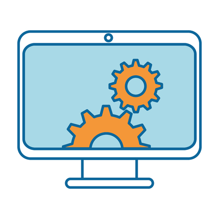 computer display with gears vector illustration design Illustration