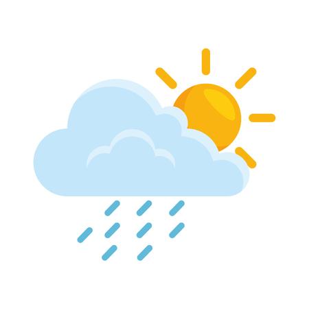 wolkenweer met zon en regen vectorillustratieontwerp