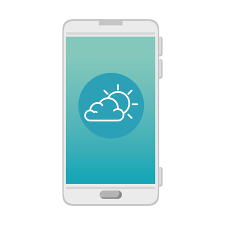 smartphone with partly cloudy weather application vector illustration design Illustration