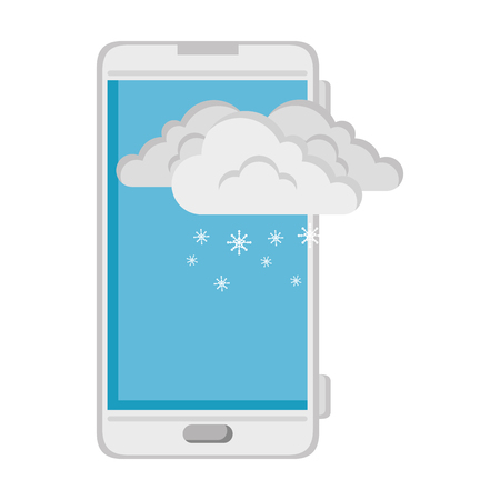 smartphone with snow cloud weather application vector illustration design