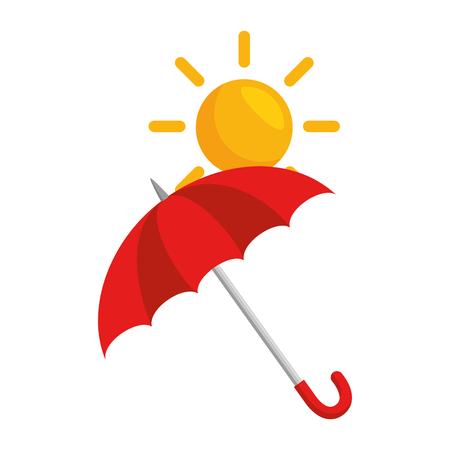 paraplu beschermend met zon vector illustratie ontwerp