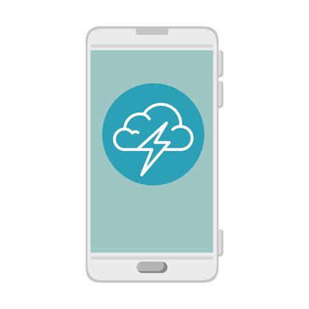 smartphone with storm cloud weather application vector illustration design Illustration