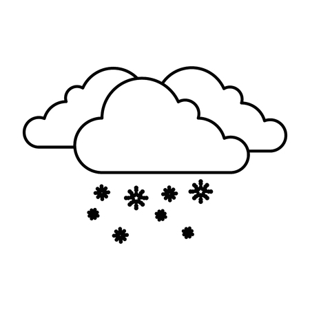 cloud weather with snowflakes vector illustration design Illustration