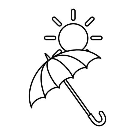umbrella protective with sun vector illustration design Illustration