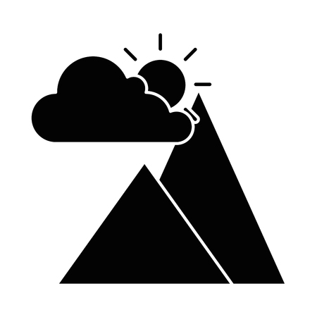 mountains camp with cloud and sun vector illustration design