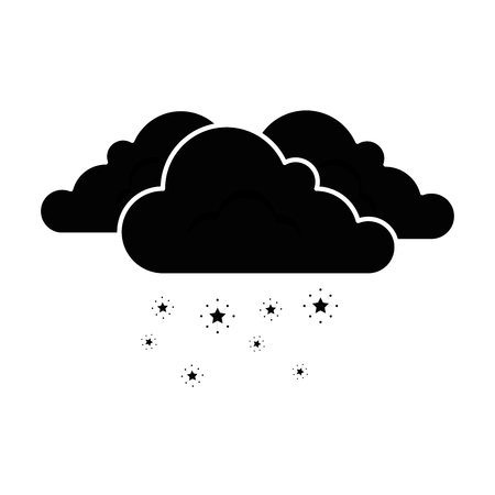 cloud weather with snowflakes vector illustration design Çizim