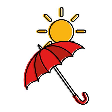 Paraguas protector con diseño de ilustración vectorial sol Foto de archivo - 87810176