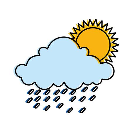 太陽と天気を雲し、雨のベクトル イラスト デザイン  イラスト・ベクター素材