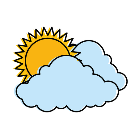 cloud weather with sun vector illustration design Çizim