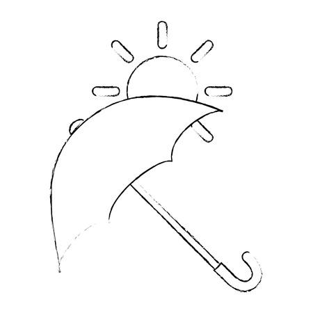 Paraguas protector con diseño de ilustración vectorial sol Foto de archivo - 87692045
