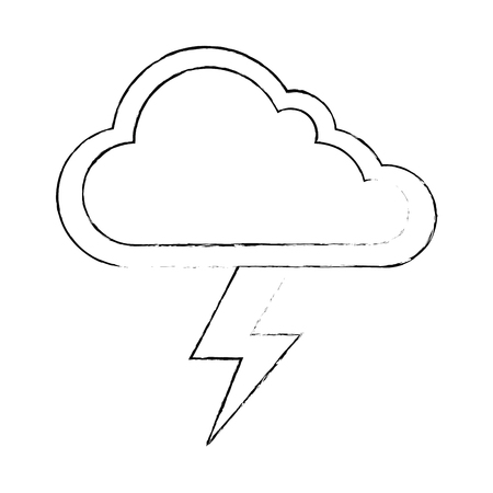 cloud weather with thunder vector illustration design