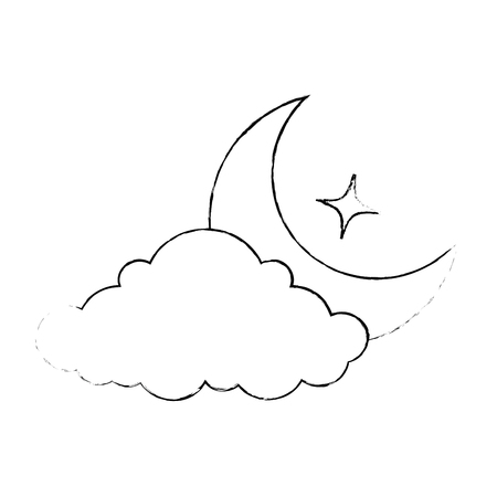 cloud weather with moon vector illustration design 版權商用圖片 - 87692710
