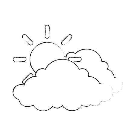 cloud weather with sun vector illustration design 向量圖像