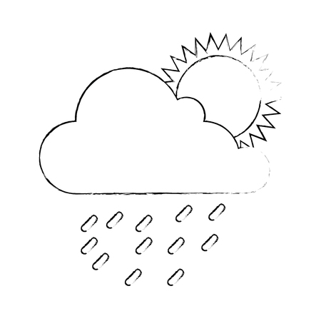 cloud weather with sun and rain vector illustration design 版權商用圖片 - 87692155