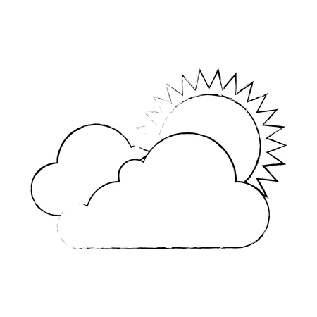 cloud weather with sun vector illustration design 向量圖像