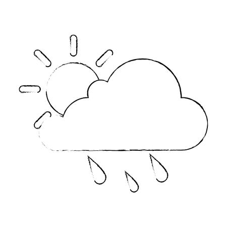 cloud weather with sun and rain vector illustration design 版權商用圖片 - 87692118