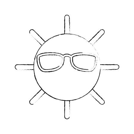 夏の太陽は孤立したアイコンベクトルイラストデザイン