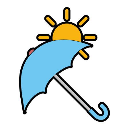 Paraguas protector con diseño de ilustración vectorial sol Foto de archivo - 87692711
