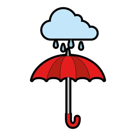 umbrella protective storm cloud vector illustration design Stock Vector - 87692714