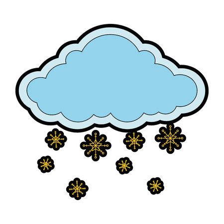 cloud weather with snowflakes vector illustration design 向量圖像