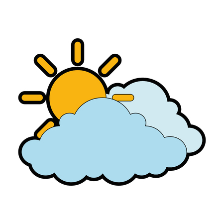 cloud weather with sun vector illustration design Illustration