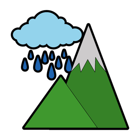 mountains camp with cloud rainy vector illustration design Illustration