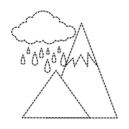 alpinism: mountains camp with cloud rainy vector illustration design Illustration