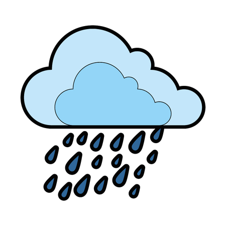 cloud weather with drops vector illustration design