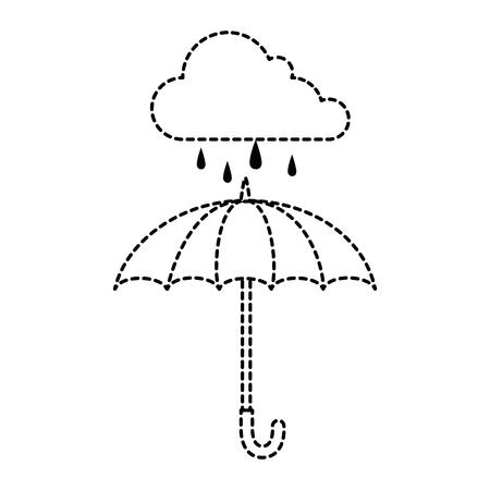 umbrella protective storm cloud vector illustration design