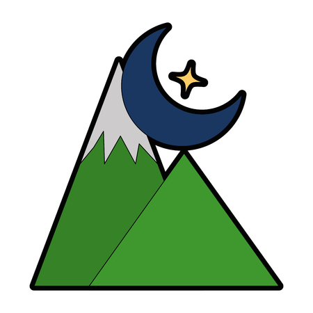 alpinism: mountains camp with moon vector illustration design