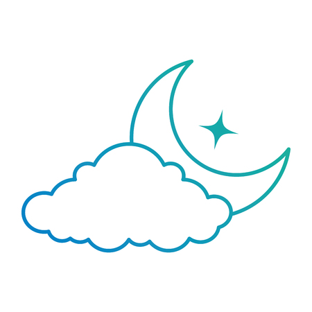 Cloud with moon vector illustration design Illustration