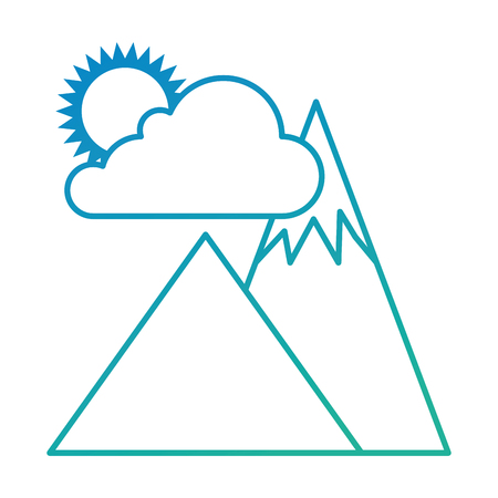 alpinism: mountains camp with cloud and sun vector illustration design