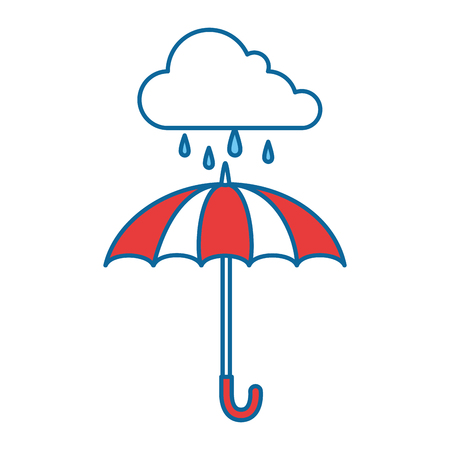 umbrella protective storm cloud vector illustration design