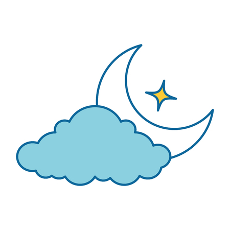 cloud weather with moon vector illustration design