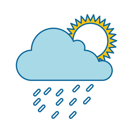 cloud weather with sun and rain vector illustration design