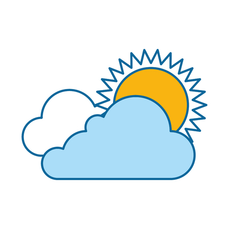 cloud weather with sun vector illustration design Ilustrace