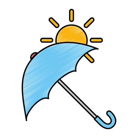 Umbrella with sun vector illustration design