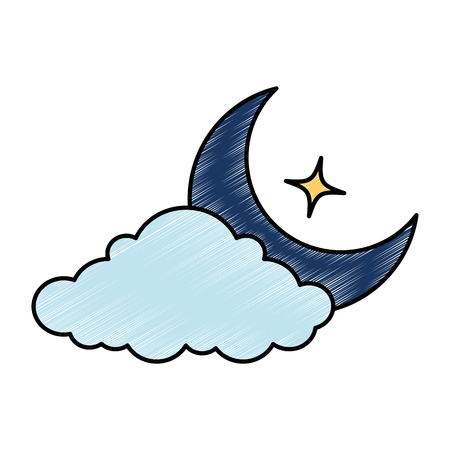 Moon, cloud and star vector illustration design 向量圖像