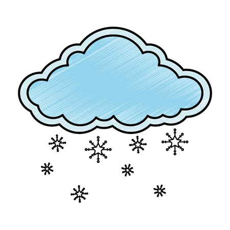 Cloud with snowflakes vector illustration design