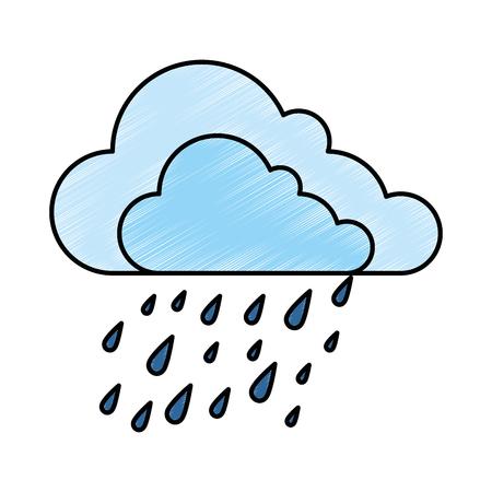 벡터 일러스트 레이 션 디자인 구름 날씨를 방울 일러스트