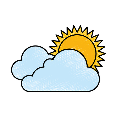 cloud weather with sun vector illustration design Иллюстрация