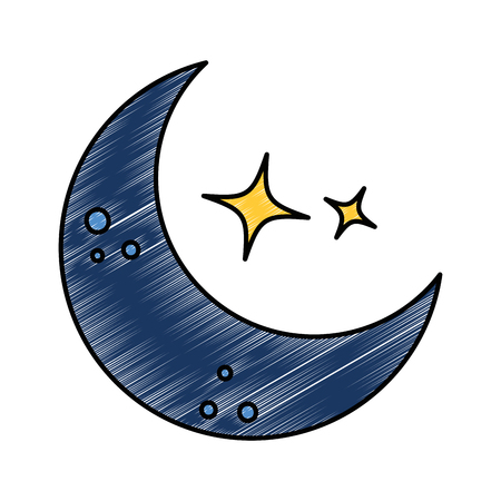 moon and stars night vector illustration design