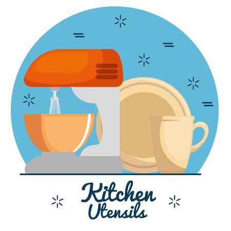 Utensilios de cocina coloridos ilustración vectorial diseño gráfico Foto de archivo - 87694150