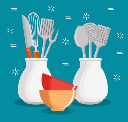 eating utensils: colorful kitchen utensils vector illustration graphic design