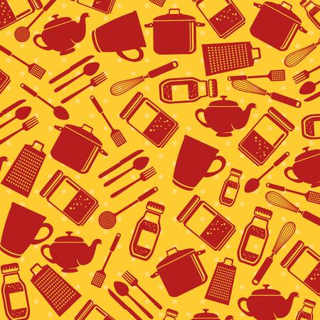 Seamless pattern kitchen utensils vector illustration graphic design Illustration