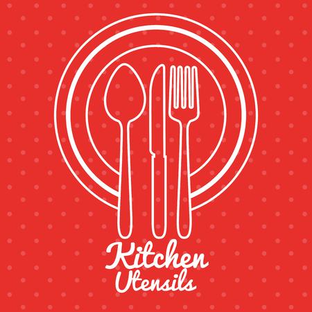 Kleurrijk grafisch ontwerp van de keukengerei het vectorillustratie Stock Illustratie