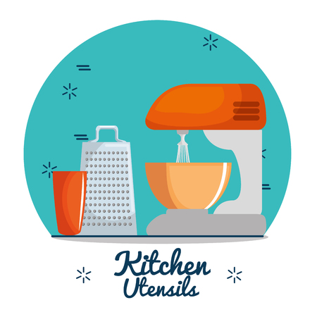 lunch table: colorful kitchen utensils vector illustration graphic design