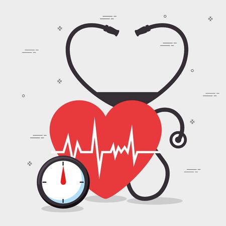 健康な心臓ライフ スタイル概念ベクトル イラスト グラフィック デザイン